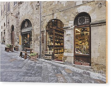 Italian Delicatessen Or Macelleria Wood Print by Jeremy Woodhouse