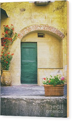 Wood Print featuring the photograph Italian Facade With Geraniums by Silvia Ganora