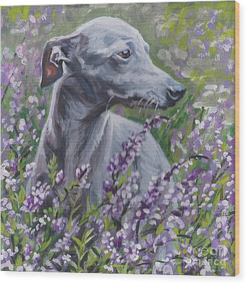 Wood Print featuring the painting  Italian Greyhound In Flowers by Lee Ann Shepard