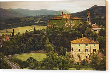 Italian Castle And Landscape Wood Print