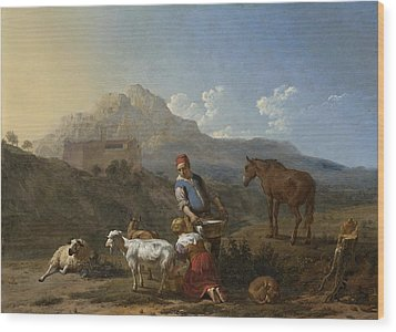 Italian Landscape With Girl Milking A Goat Wood Print by Karel Dujardin