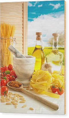 Italian Pasta In Country Kitchen Wood Print by Amanda Elwell