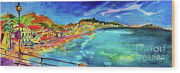 Wood Print featuring the painting Italian Riviera Coastline Ocean View by Ginette Callaway