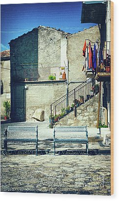 Wood Print featuring the photograph Italian Square With Benches by Silvia Ganora