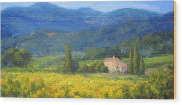 Italian Sunflowers Wood Print by Bunny Oliver