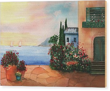 Italian Sunset Villa By The Sea Wood Print by Sharon Mick