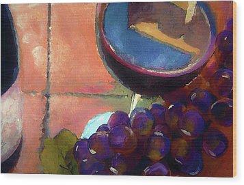 Italian Tile And Fine Wine Wood Print by Lisa Kaiser