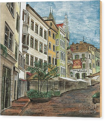 Italian Village 1 Wood Print by Debbie DeWitt