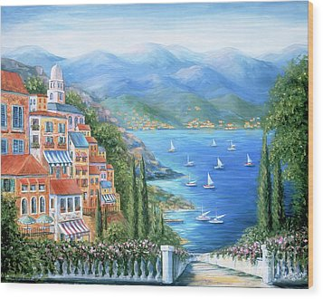Italian Village By The Sea Wood Print by Marilyn Dunlap