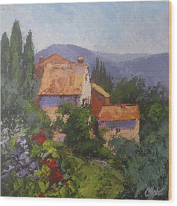 Wood Print featuring the painting Italian Village by Chris Hobel
