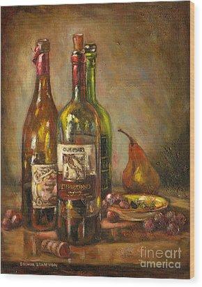 Italian Wine Bottles Wood Print by Brenda Brannon