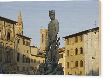 Italy, Florence, Neptune Fountain Wood Print by Sisse Brimberg & Cotton Coulson