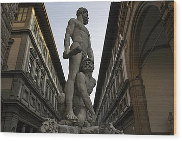 Italy, Florence, Sculpture Of Gercules Wood Print by Sisse Brimberg & Cotton Coulson