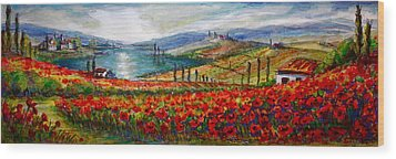 Italy Tuscan Poppies Wood Print by Yvonne Ayoub