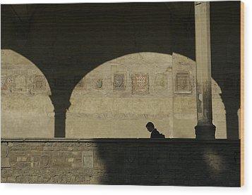 Italy, Tuscany, Florence, A Man Walks Wood Print by Keenpress