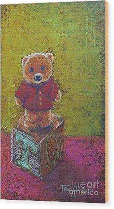It's A Bear's World Wood Print by Tracy L Teeter