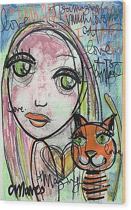 It's Amazing How Much I Love My Cat Wood Print by Laurie Maves ART