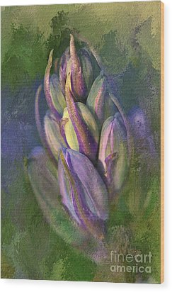 Wood Print featuring the digital art Itty Bitty Baby Bluebells by Lois Bryan
