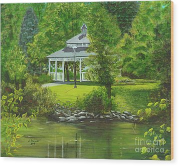 Wood Print featuring the painting Ives Park Gazebo by Judy Filarecki