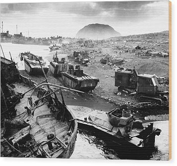 Iwo Jima Beach Wood Print by War Is Hell Store