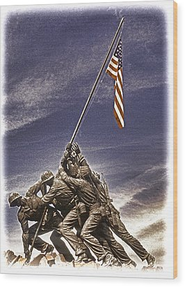 Iwo Jima Flag Raising Wood Print by Dennis Cox