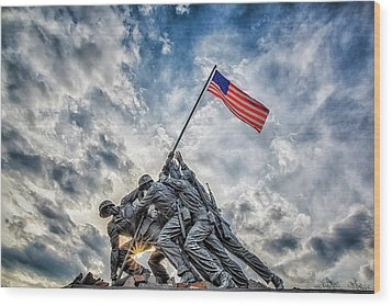 Iwo Jima Memorial Wood Print by Susan Candelario