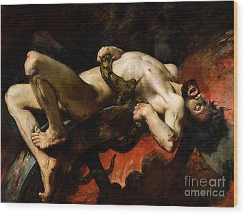 Ixion Thrown Into Hades Wood Print by Jules Elie Delaunay