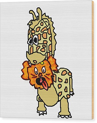Izzy As Giraffe Wood Print by Jera Sky