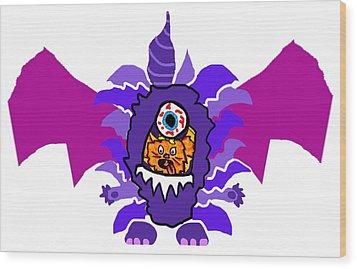 Izzy Purple People Eater Costume Wood Print by Jera Sky
