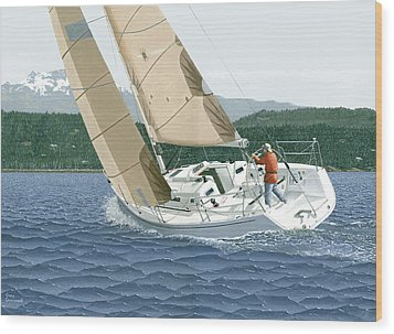 Wood Print featuring the painting J-109 Sailboat Off Comox B.c. by Gary Giacomelli