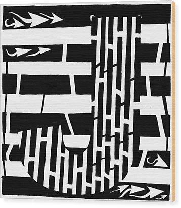 J Maze Wood Print by Yonatan Frimer Maze Artist