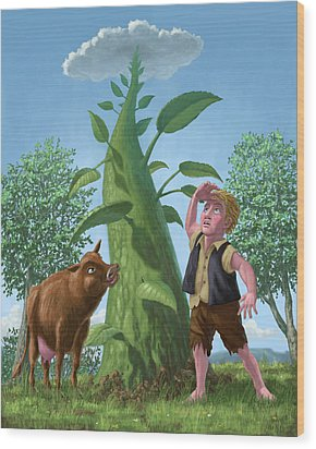 Jack And The Beanstalk Wood Print by Martin Davey