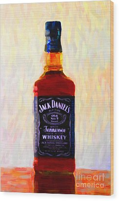 Jack Daniel's Tennessee Whiskey 80 Proof - Version 1 - Painterly Wood Print by Wingsdomain Art and Photography