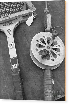 Jack Kramer Wood Racket And Ancient Rod And Reel Wood Print by David Bearden