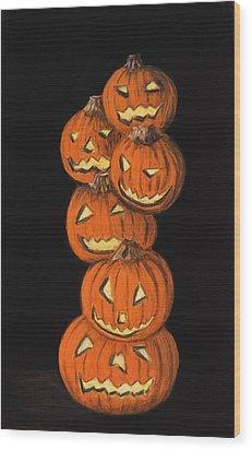 Jack-o-lantern Wood Print by Anastasiya Malakhova
