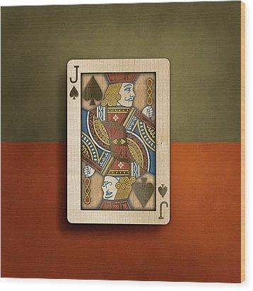 Jack Of Spades In Wood Wood Print by YoPedro