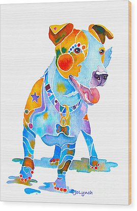 Jack Russell Terrier Colorful Painting Wood Print by Jo Lynch