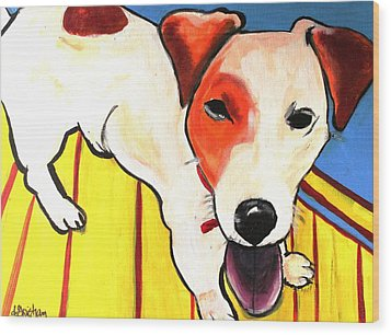 Wood Print featuring the painting Jack Russell Terrior- Peanut by Laura  Grisham