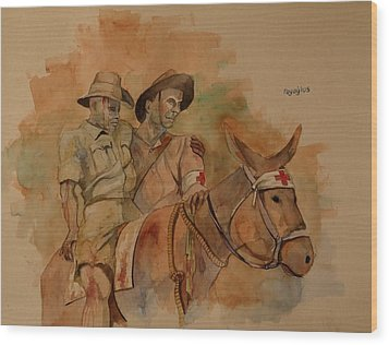 Wood Print featuring the painting Jack Simpson And Duffy by Ray Agius