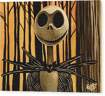 Jack Skelington Wood Print by Tom Carlton
