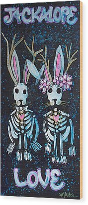 Wood Print featuring the painting Jackalope Love by Laurie Maves ART
