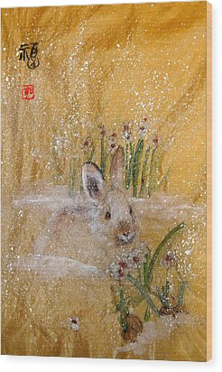 Wood Print featuring the painting Jackies New Year Rabbit by Debbi Saccomanno Chan