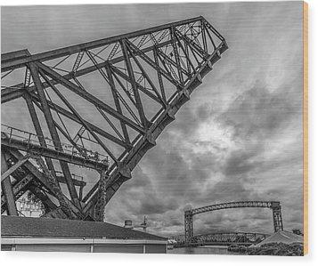 Jackknife Bridge To The Clouds B And W Wood Print