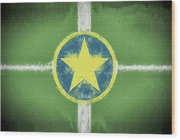 Wood Print featuring the digital art Jackson Mississippi Flag by JC Findley