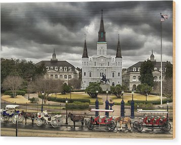 Jackson Square New Orleans Wood Print by Don Lovett