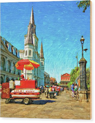 Jackson Square Oil Wood Print by Steve Harrington