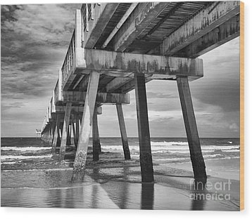 Jacksonville Beach Florida Usa Pier Wood Print by Vizual Studio