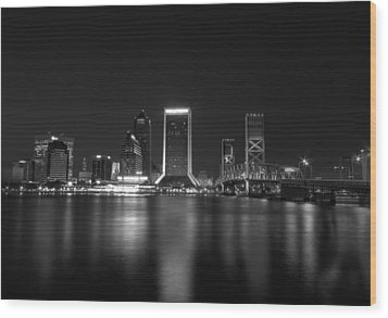 Jacksonville Landing At Night Wood Print by Sharon Batdorf