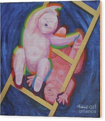Jacob And Essau-yin Yang Wood Print by Mordecai Colodner