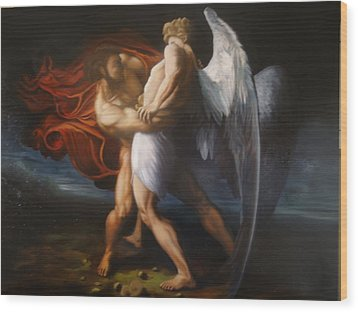 Jacob Wrestling The Angel Wood Print by Paul Gilbert Baswell